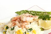 Prawn Salad on a bed of rice with vegetables poster