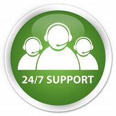 24/7 support team glossy green round button poster