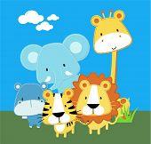 vector illustration of cute safari baby animals poster