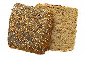 Close up of a whole wheat bread roll with sesame and poppy seeds isolated on white Adobe RGB DFF image poster