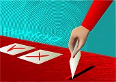 voting. ballot box and hand putting a blank ballot inside poster