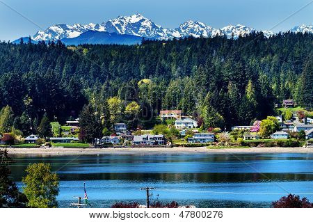 Poulsbo Bainbridge Island Puget Sound Snow Mountains Olympic National Park Washington State Pacific Northwest poster