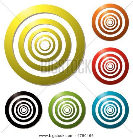 Collection of six colourful targets with drop shadow poster