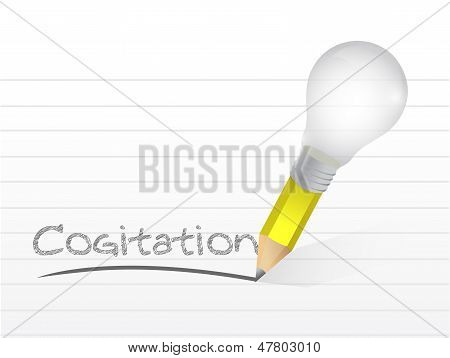 Cogitation Written With A Light Bulb Idea Pencil