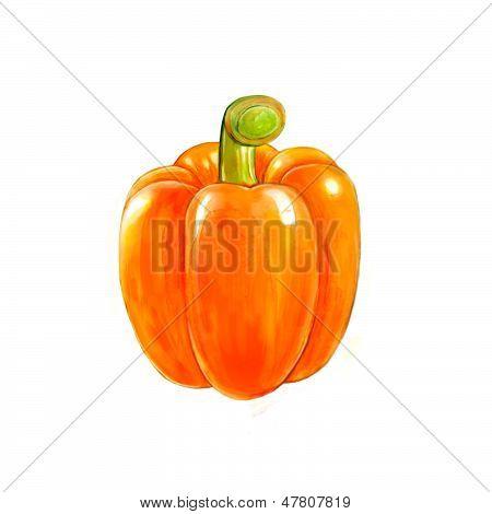 Painting of orange hot chili pepper