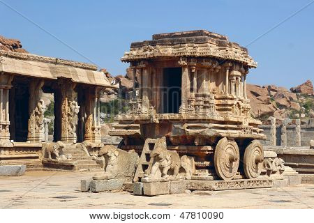 Stone Chariot In Vittala Temple, Hampi, India