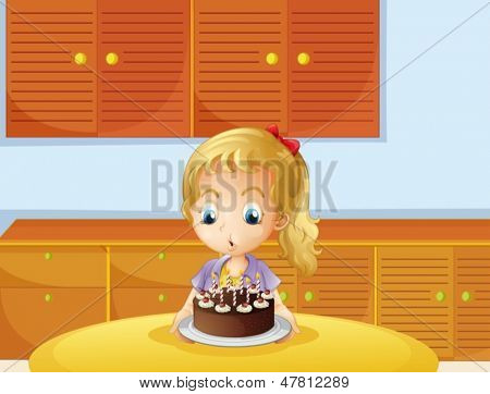 Illustration of a girl blowing her cake