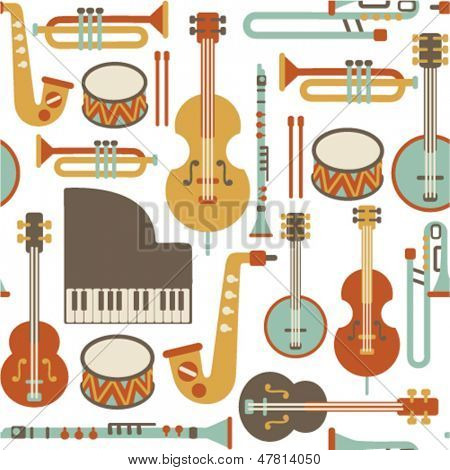 seamless pattern with jazz instruments. isolated on white