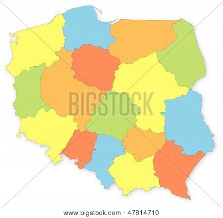 Colorful Vector Map Of Poland With Voivodeships