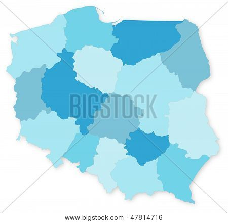 Blue Vector Map Of Poland With Voivodeships