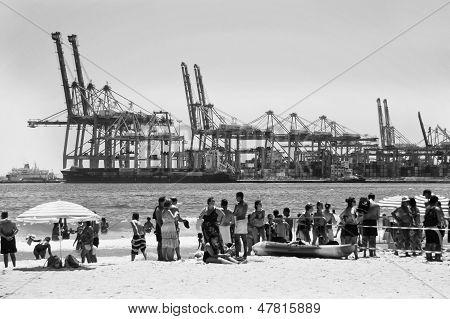 Cranes And Beach