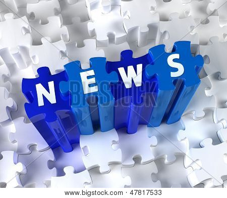Creative 3D pieces of puzzle and word NEWS