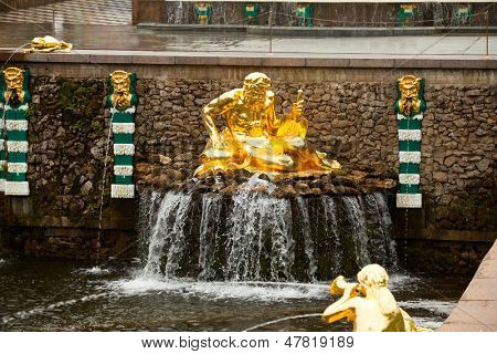 PETERHOF, RUSSIA - JULY 1: Fountains of Petergof near St. Petersburg, May 1, 2012 in Peterhof, Russia. The name was changed to Petrodvorets in 1944, the original name was restored in 1997.