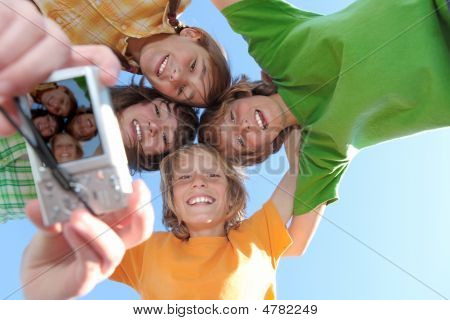 Group Of Happy Smiling Kids At Summer Camp