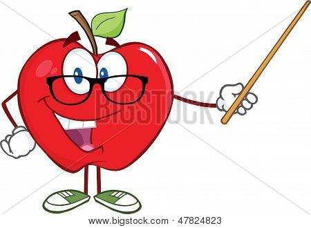 Smiling Apple Teacher Character With A Pointer