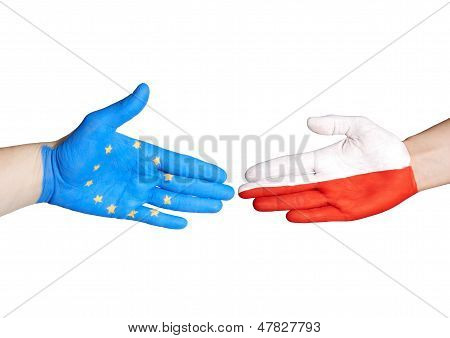 European And Polish Handshake