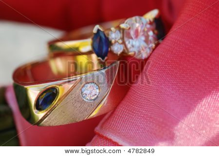 Two Rings On Fabric