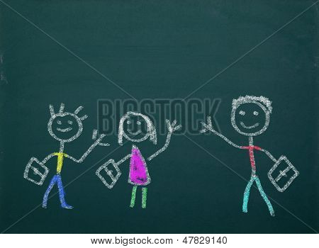 Blackboard With School Kids Drawings