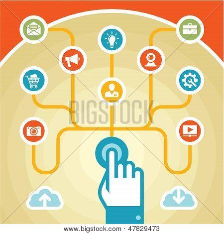 Infographik Konzept - Touchpad - Icons Set
