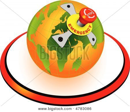 World Globe With Emergency Stop Button