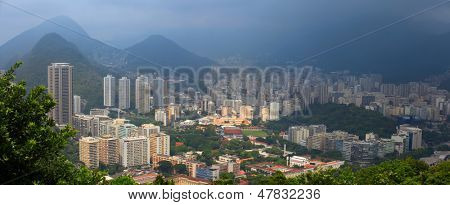 panoromic view of rio city in the fog