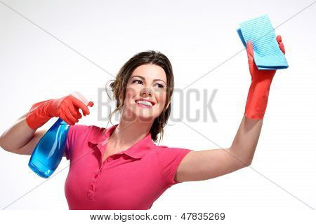 Young Housewife Cleaning