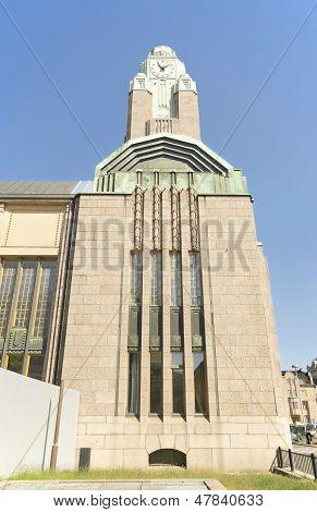 Clock tower Helsinki central railway station in Finland.