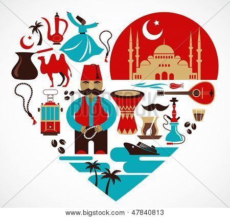 Turkey - heart with a lot of vector icons and illustrations