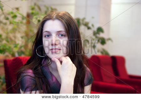 Brunette Girl At Ante-room