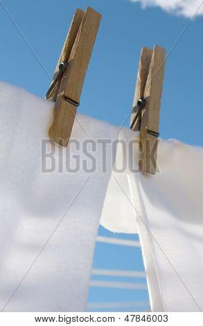 Fluffy white laundry outside