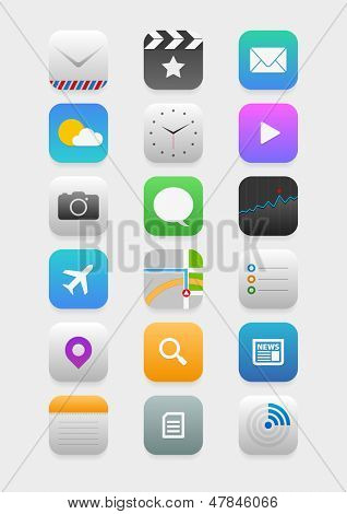 Vector collection of mobile application icons.