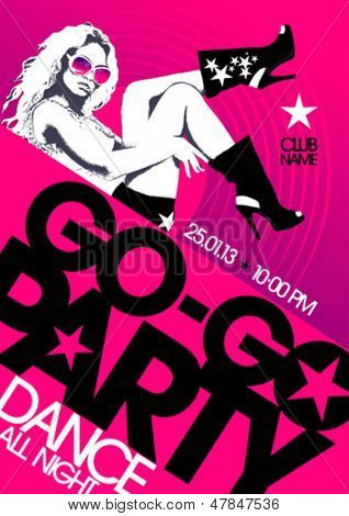 Go-go party design template with fashion girl and place for text.