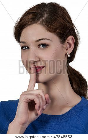A woman saying be quiet by saying shhh poster