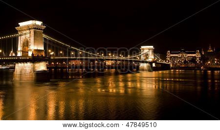 Budapest - Hungary Nighttime of Buda castle and Szechenyi chain bridge over Danube in Budapest Hungary poster