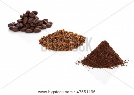 Coffee Beans, Ground Coffee And Instant Coffee.