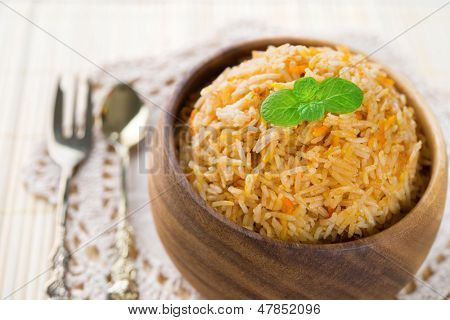 Indian food biryani rice or briyani rice, fresh cooked, indian dish.