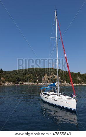 Sailboat near Parga in Greece