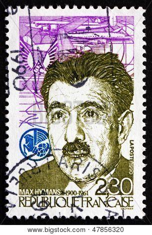 Postage Stamp France 1990 Max Hymans, Leftist Politician