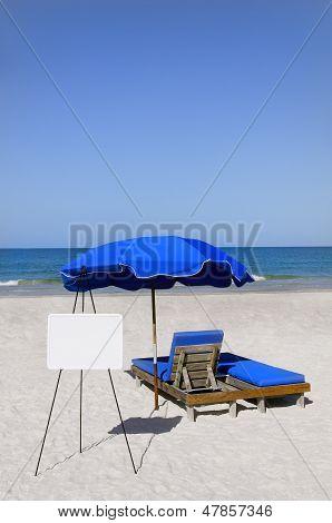 Blue Umbrella And Whiteboard