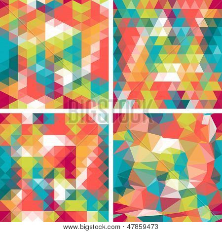 Seamless triangle patterns in retro style.