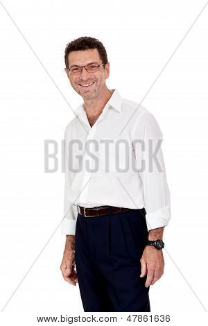 Successful Selfconfident Smiling Adult Businessman Isolated