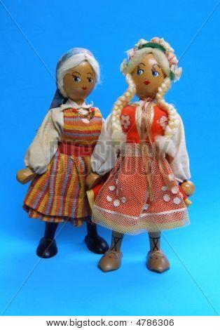 Pair Of Antique Polish Dolls
