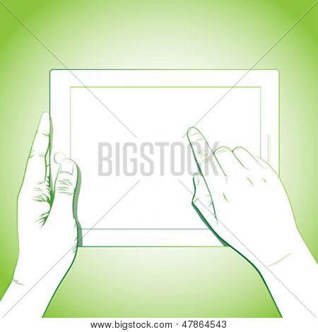 Hand touch gesture, on horizontal 10 inch tablet