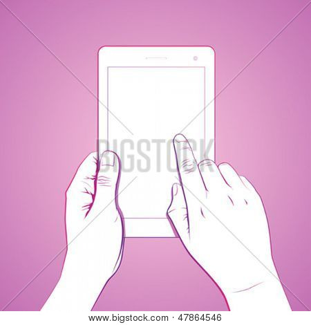 Hand touch gesture, on 7 inch tablet