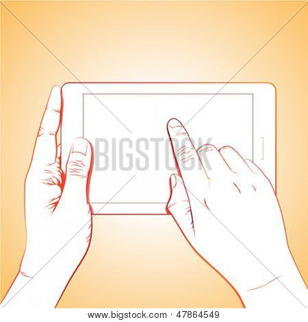 Hand touch gesture, on horizontal 7 inch tablet