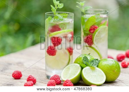 Fresh Cold Drink Water Ice Cubes Peppermint Lime Raspberry