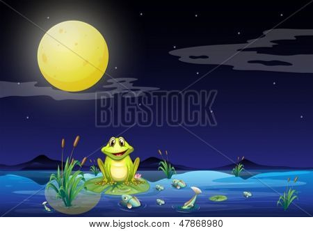Illustration of the frog and fishes at the lake under the bright fullmoon
