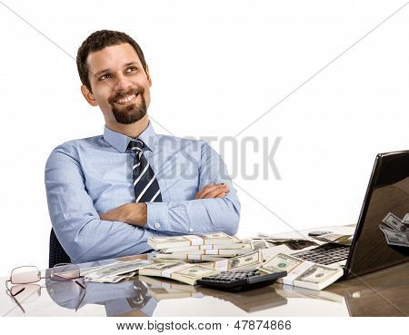 hilarious businessman with arms crossed - isolated on white background