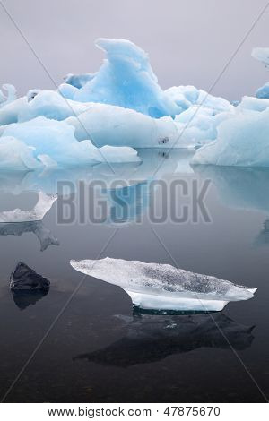 Iceberg landscape Iceland at Jokulsarlon glacier lagoon drifting pack ice due to melting caused by global warming beautiful arctic travel and tourism location cold wilderness poster
