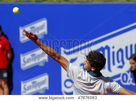 BARCELONA - APRIL, 24: Bulgarian tennis player Grigor Dimitrov serves during a match of Barcelona tennis tournament Conde de Godo on April 24, 2013 in Barcelona